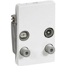 LK FUGA® Antennestik - Antenneudtag TV/Radio/DAB-slutdåse 1½ modul, Type TD254E