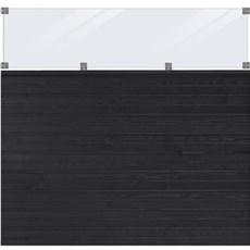 Plus Træhegn - PLUS Plank Profilhegn inkl. glas 174x163 cm Trykimprægneret grundmalet sort