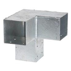 PLUS Tilbehør hegn - CUBIC Hjørnebeslag Dobbelt 20x20x20 cm / Hulmål 9x9 cm inkl. skruer Varmgalvaniseret