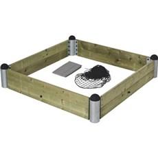Plus Sandkasse - PIPE Sandkassekit 140x140x24 cm / Inkl. net og fiberdug Trykimprægneret