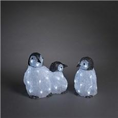 Konstsmide Julebelysning ude - Pingvinmor med unger i akryl m/48 hvide LED lys