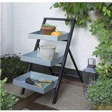 Garden Life Plantebord - Plantetrappe, model Lotus, galvaniseret med sort understel og aftagelig bakke