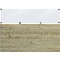 PLUS Træhegn - PLUS Plank Profilhegn inkl. glas 174x125 cm Trykimprægneret
