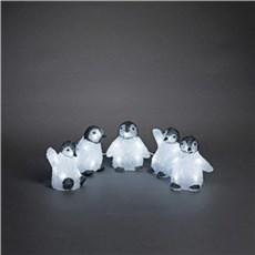 Konstsmide Julebelysning ude - 5 stk pingvinunger i akryl m/40 hvide LED lys