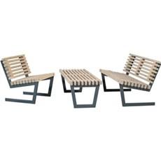 Plus Havemøbelsæt - Siesta Loungesæt 1 Består af:  Sofa, stol og stort bord Grundmalet drivtømmerfarve
