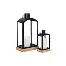 Boliginteriør Dekoration - Lanterne metal+glas sæt af 2