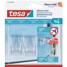 Tesa® Smart ophængningssystem - Klæbekrog til transparente overflader Til 1 kg / 2 stk