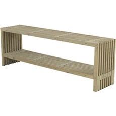 PLUS Havebænk - Rustik Trallebord Design m/hylde 218x49x72 cm Grundmalet drivtømmerfarve