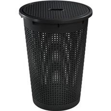 Plast1 Vasketøjskurv - Tøjkurv rund m/låg - RATTAN, sort