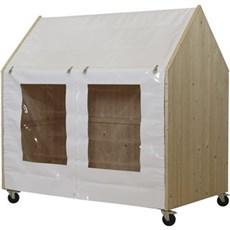 PLUS Shelter - Shelter på hjul 203x121x198 cm Ubehandlet / Kraftig hvid polyesterdug