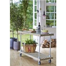 Plus Havebord - Tralle Grill-/Anretterbord m/hjul 138x49x90 cm inkl. glasplade Drivtømmerfarvet