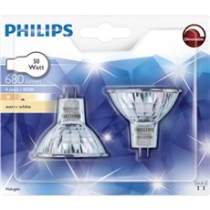 Philips Halogenpære - PHILIPS HAL-DICH 4Y 50W GU5.3 2-pak