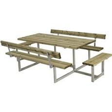 Plus Bord & bænkesæt - Basic Bord/Bænkesæt 2 Ryglæn + 2 påbygn. 260x184x73/45 cm Trykimprægneret