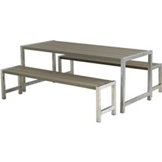 Plus Bord & bænkesæt - Plankesæt Består af:  Bord og 2 Bænke Trykimprægneret grundmalet gråbrun