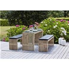 Plus Bord & bænkesæt - Trallemøbelsæt Bord + 2 Bænke m/glasplade og hynder Grundmalet drivtømmerfarve