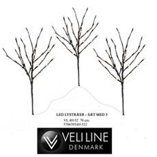 VELI LINE Pyntetræer udendørs - 3 stk. LED træ
