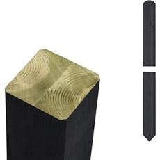 Plus Stolper - Trykimprægneret sort omlimet 7x7cm 208 cm