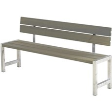 Plus Bord & bænkesæt - Plankebænk m/ryglæn 176x38x81/44 cm Trykimprægneret grundmalet gråbrun