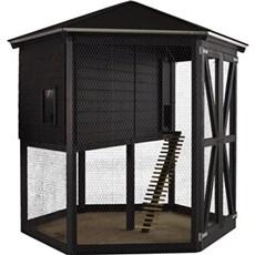 Plus Dyreartikler - Hønsehus 6-kantet 240x240 x270 cm Grundmalet sort