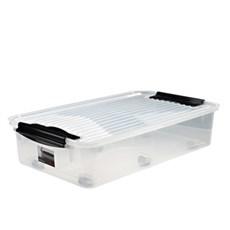 Plast1 Plastkasse - Bedroller med låg KLAR plast 40X18X71CM 40 LTR.