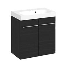Multo + Badeværelsessæt - 60 cm Multo m/låger inkl. vask UNO, sort