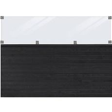 PLUS Træhegn - PLUS Plank Profilhegn inkl. glas 174x125 cm Trykimprægneret grundmalet sort