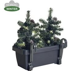 NORDIC WINTER Julebelysning ude - Altankasse med 2 juletræer og 20 LED lys