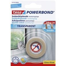 Tesa® Dobbeltklæbende tape - Powerbond Transparent 19MMX1,5MTR TRANSPARENT